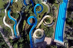 Aerial photography water park of Torrevieja. Spain